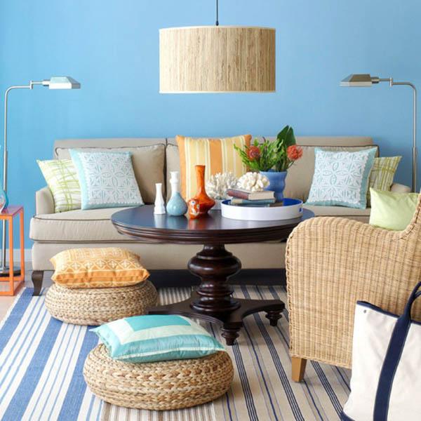 20 gam màu xanh mát dịu cho thiết kế nội thất phòng khách.